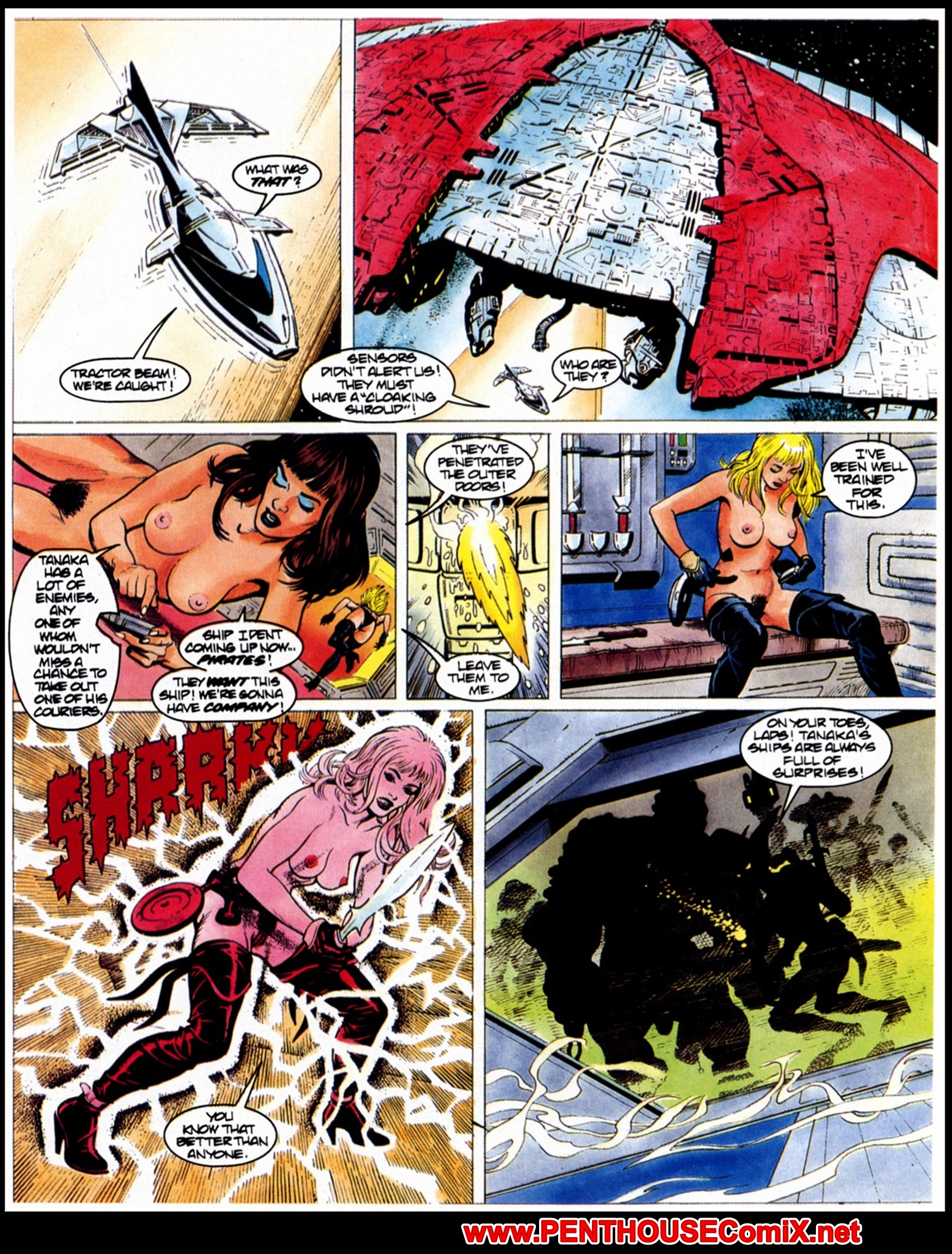 Lesbian Sci Fi Yuri Hentai Babes Attacked by Horny Porn Pirates!